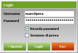 Inserimento di username e password